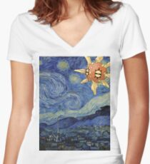 Pokemon Starry Night Solrock Women's Fitted V-Neck T-Shirt