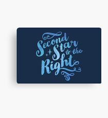 Second Star To the Right // Pretty Star Peter Pan Typography Quote Canvas Print