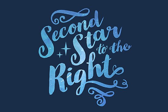 Second Star To The Right Pretty Star Peter Pan Typography Quote