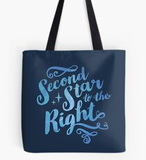 Second Star To the Right // Pretty Star Peter Pan Typography Quote Tote Bag