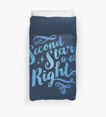 Second Star To the Right // Pretty Star Peter Pan Typography Quote Duvet Cover