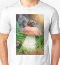 Leccinum on grass with snail T-Shirt