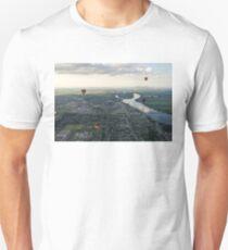 Sky Full of Hot Air Balloons Above Saint-Jean-sur-Richelieu and the Richelieu River T-Shirt