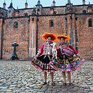Peruvian Women With Lamb by Catherine Sherman