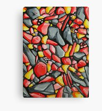 Abstract Riverstones in Red, Grey, Yellow Canvas Print