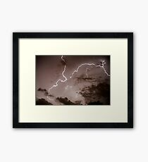 Lightning bolt during a lightning storm  Framed Print