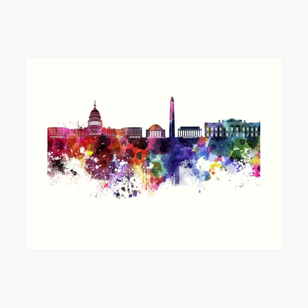 Washington DC-Skyline im Aquarell auf weißem Hintergrund Kunstdruck