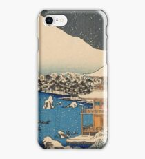 Snow Scene at the Temple of the Golden Pavilion 1870 - 1871 Hasegawa Sadanobu iPhone Case/Skin