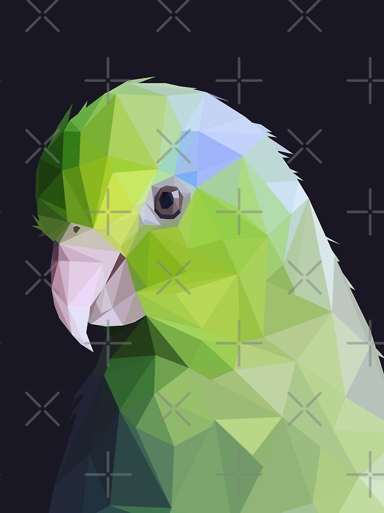 Lowpoly Green Parrolet (Dark Background) by Mariewsart