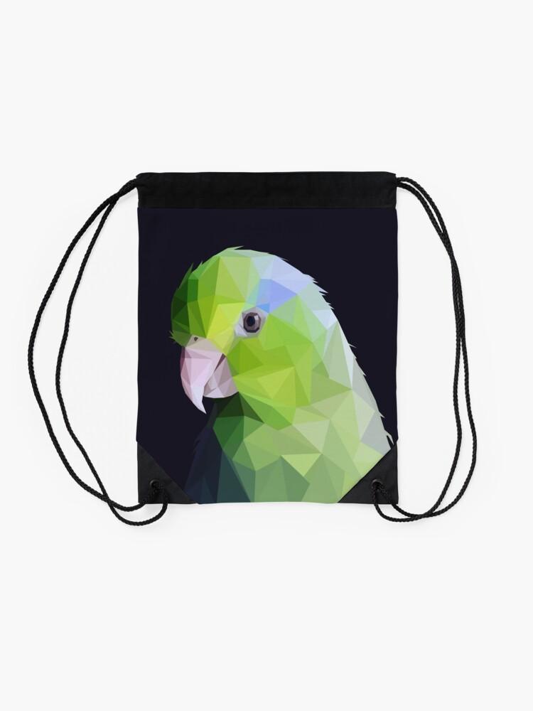 Alternate view of Lowpoly Green Parrolet (Dark Background) Drawstring Bag