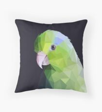 Lowpoly Green Parrolet (Dark Background) Throw Pillow