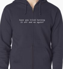 White IT Solution Zipped Hoodie
