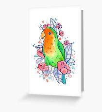 Flowery Lovebird Greeting Card