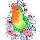 Flowery Lovebird by Mariewsart