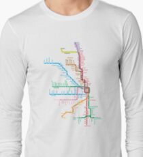 Chicago Trains Map Long Sleeve T-Shirt
