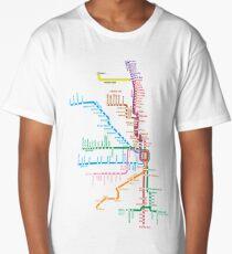 Chicago Trains Map Long T-Shirt