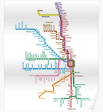 Chicago Trains Map Poster