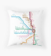 Chicago Trains Map Throw Pillow