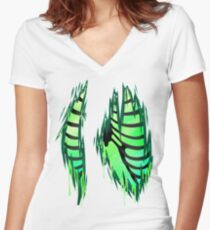 Rib cages for all -Green- Women's Fitted V-Neck T-Shirt