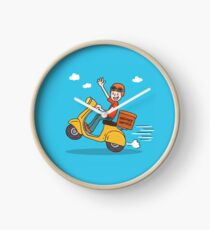 Smiley delivery boy on his motorbike Clock
