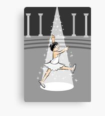 Girl dancing ballet under a spotlight on stage Canvas Print