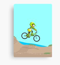 Boy on his BMX bike jumping to dirt track Canvas Print