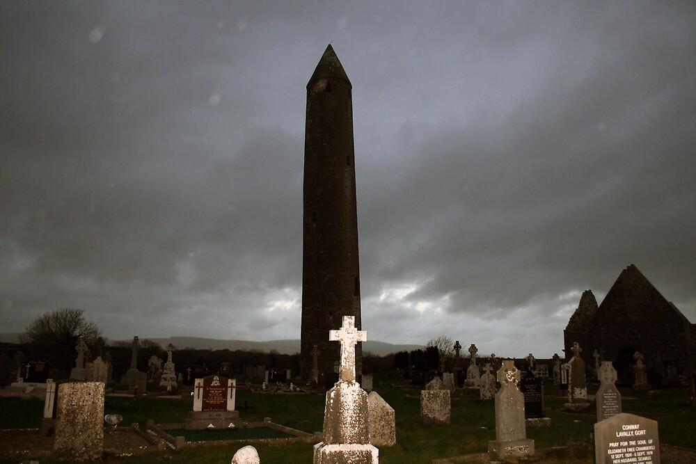 Dark winters evening at Kilmacduagh by John Quinn