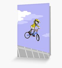 Boy on his BMX bicycle flying through the air Greeting Card