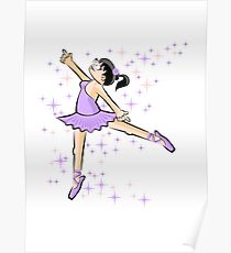 Brunette girl dancing ballet with a lilac dress Poster