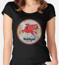 Vintage Mobil Oil Sign Women's Fitted Scoop T-Shirt
