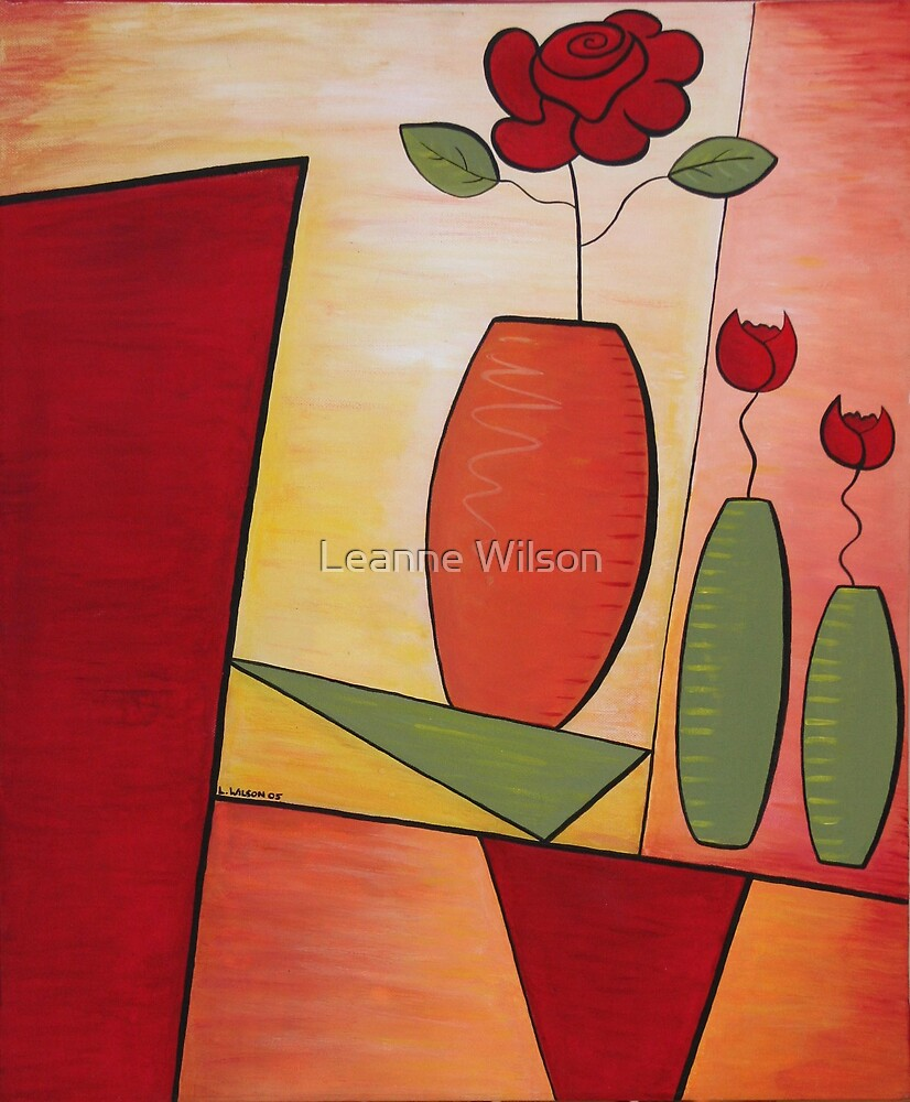 Still Life with Rose & Tulips by Leanne Wilson