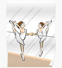 Girl practicing ballet in front of a mirror Poster