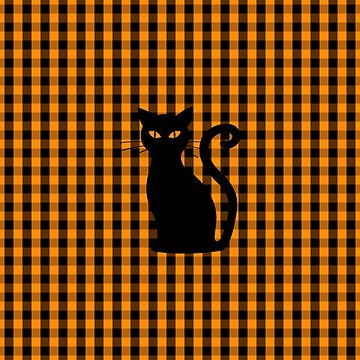 Black Halloween Cat on Orange pumpkin Gingham Check by Creepyhollow