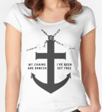 Anchored Cross (grey) Women's Fitted Scoop T-Shirt