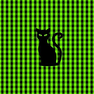 Black Cat on Luminous Green and Black Gingham Check by Creepyhollow