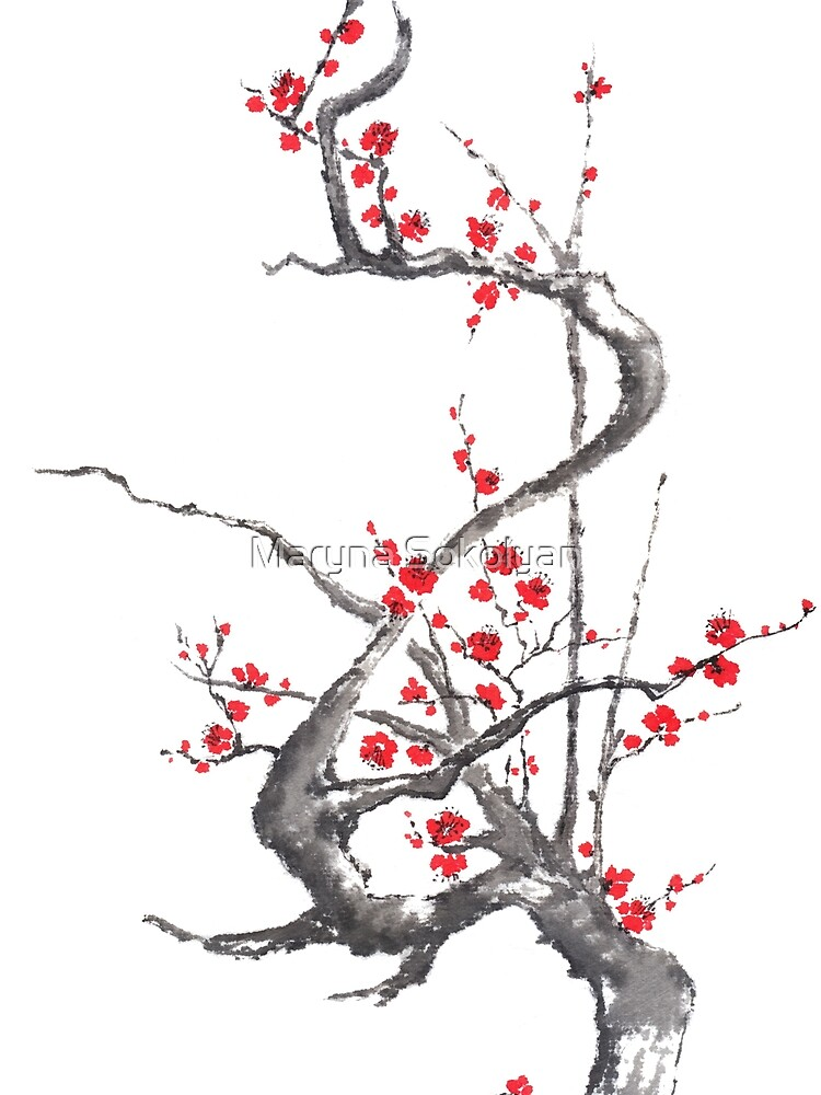 Chinese plum tree blossom sumi-e painting by Umi-ko
