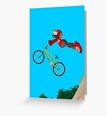 Bold boy flying through the air with his BMX bike Greeting Card