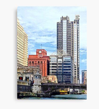 Chicago IL - Water Taxi Passing Under Lyric Opera Bridge Canvas Print