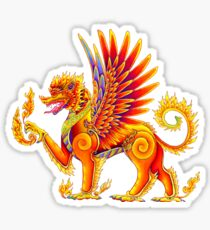 Singha - Mythical Winged Lion Thai Temple Guardian Sticker