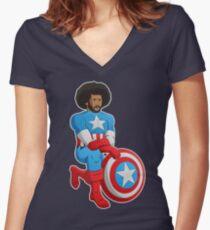 Kaeptain America Women's Fitted V-Neck T-Shirt