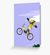 Boy flying in the air on his BMX bike with arms upwards Greeting Card