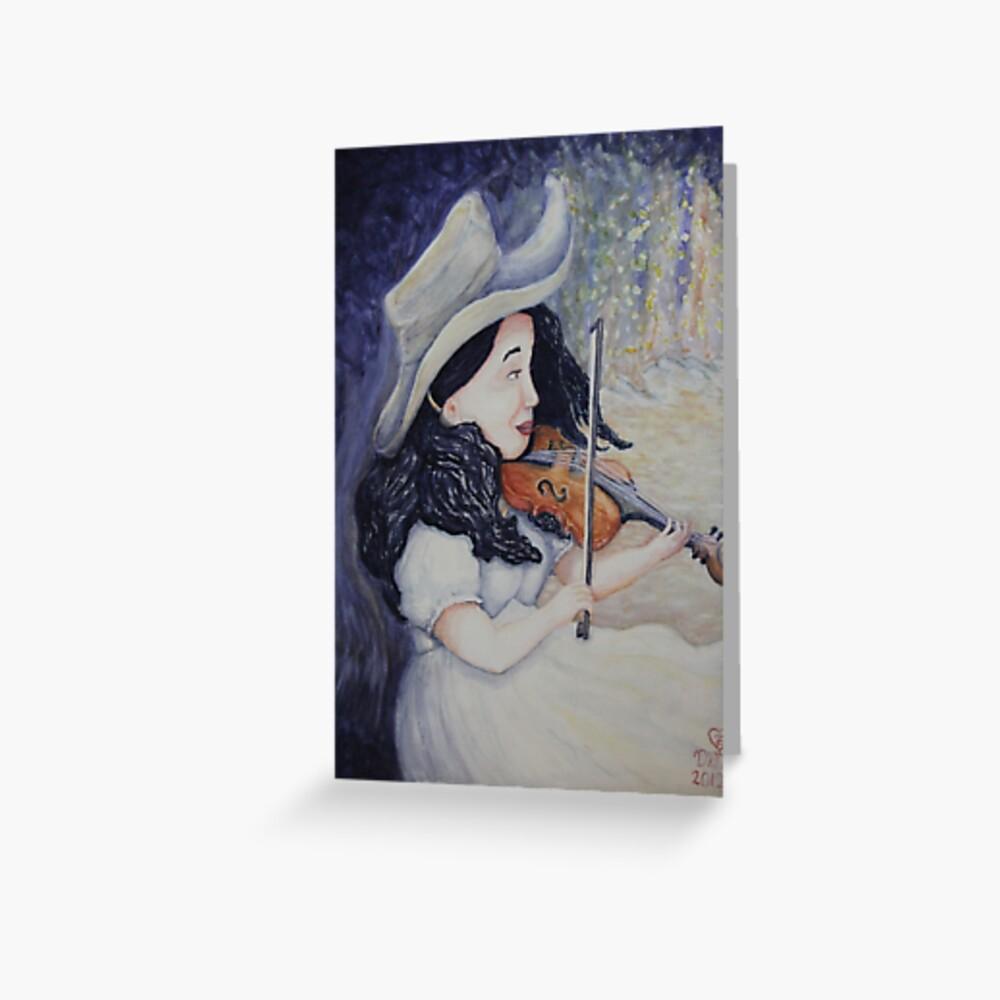 Woman's Autumnal Twilight Serenade Greeting Card