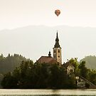 Hot air Balloon over Lake Bled and the Island church by Ian Middleton