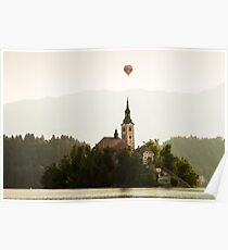 Hot air Balloon over Lake Bled and the Island church Poster