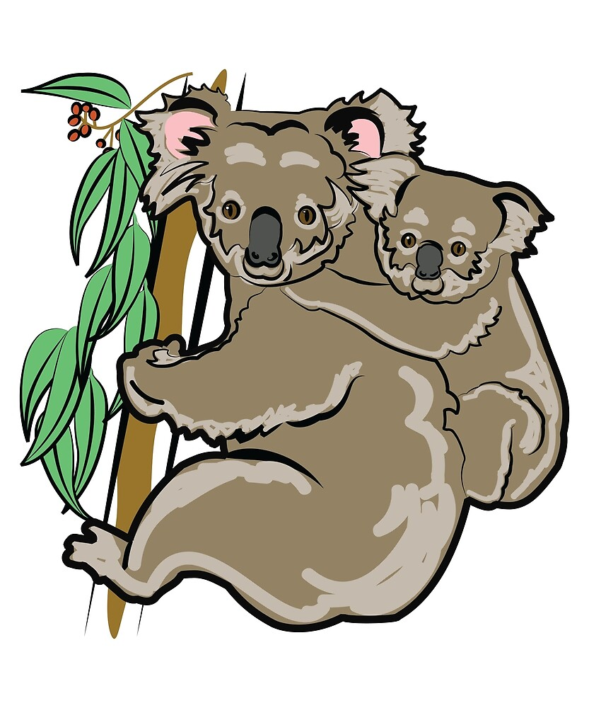 Mother and Baby Koala Bear by evisionarts