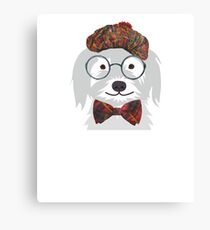 Hipster Geek Nerd Funny Dog  Canvas Print