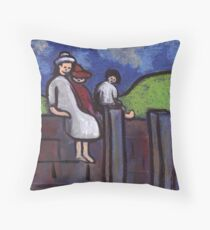 Children on a wall Throw Pillow