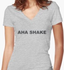 AHA SHAKE Women's Fitted V-Neck T-Shirt