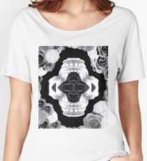 funny skull portrait with roses in black and white Women's Relaxed Fit T-Shirt