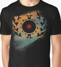 Retro Vinyl Records Music - Vinyl With Paint and Tribal Spikes - DJ TShirt Graphic T-Shirt